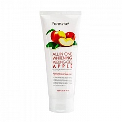 Пилинг-скатка с экстрактом яблока, FarmStay All In One Whitening Peeling Gel Cream Apple