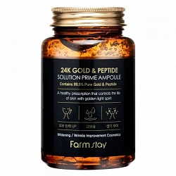 Омолаживающая сыворотка FarmStay 24K Gold & Peptide Solution Prime Ampoule